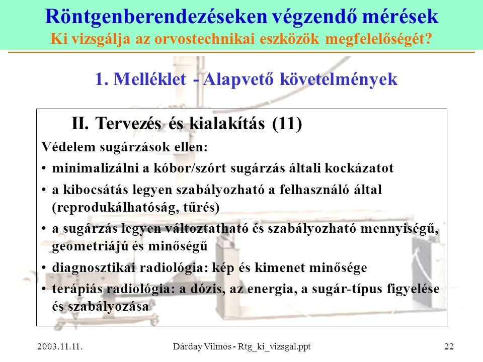 Röntgenberendezéseken végzendő mérések Ki vizsgálja az orvostechnikai eszközök megfelelőségét? 2003.11.11.Dárday Vilmos - Rtg_ki_vizsgal.ppt22 1. Mell