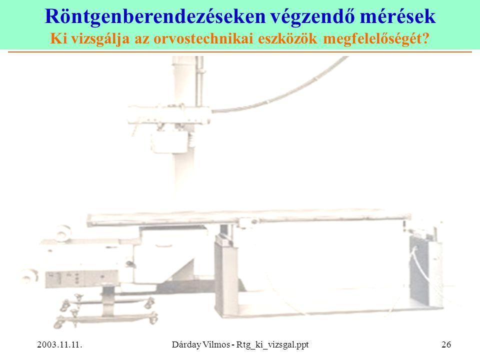 Röntgenberendezéseken végzendő mérések Ki vizsgálja az orvostechnikai eszközök megfelelőségét? 2003.11.11.Dárday Vilmos - Rtg_ki_vizsgal.ppt26