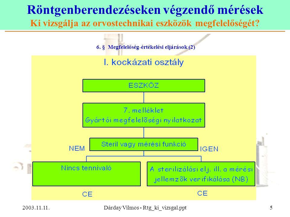 Röntgenberendezéseken végzendő mérések Ki vizsgálja az orvostechnikai eszközök megfelelőségét? 2003.11.11.Dárday Vilmos - Rtg_ki_vizsgal.ppt5 6. § Meg