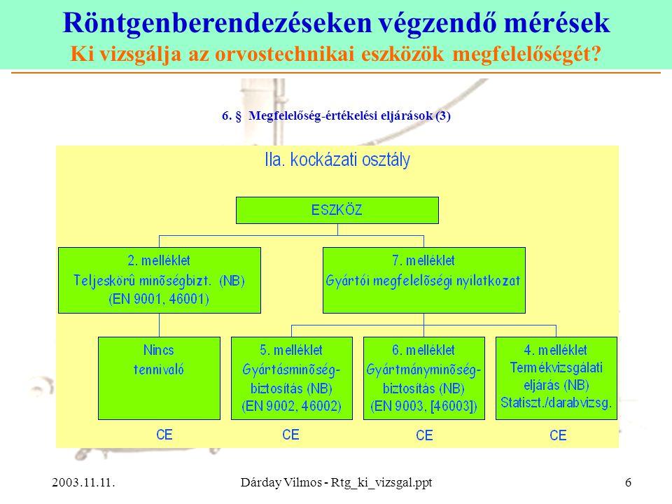 Röntgenberendezéseken végzendő mérések Ki vizsgálja az orvostechnikai eszközök megfelelőségét? 2003.11.11.Dárday Vilmos - Rtg_ki_vizsgal.ppt6 6. § Meg