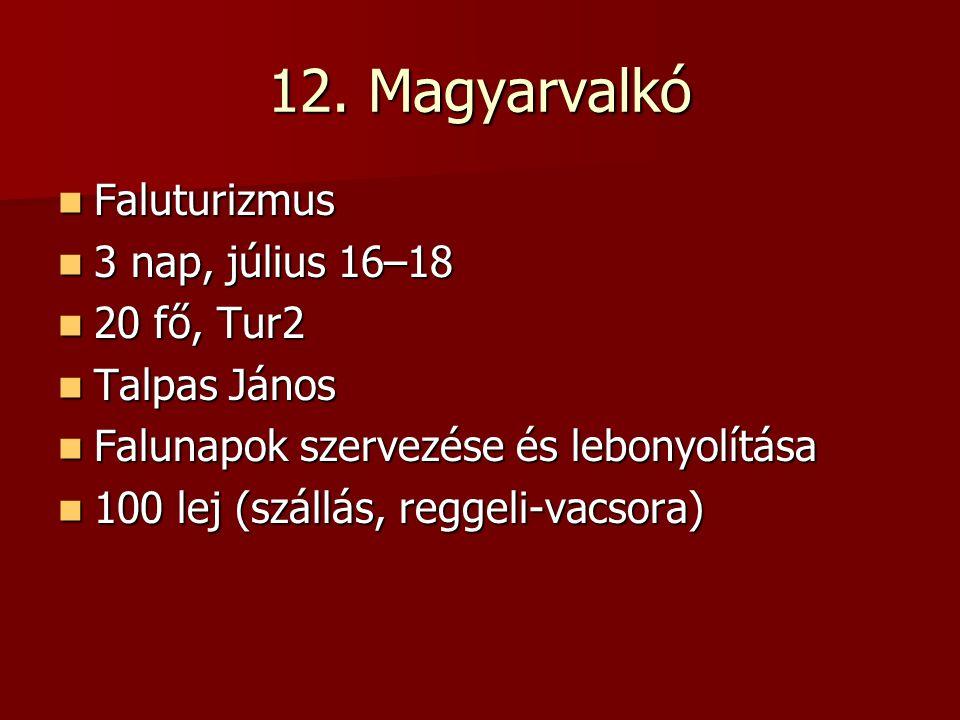 12. Magyarvalkó Faluturizmus Faluturizmus 3 nap, július 16–18 3 nap, július 16–18 20 fő, Tur2 20 fő, Tur2 Talpas János Talpas János Falunapok szervezé