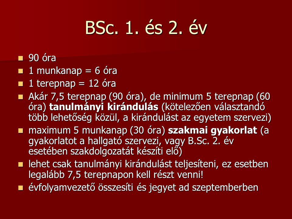 BSc.3. év, MSc. BSc. 3. év: szakdolgozat (kötelező) + jelentkezhet tanulmányi kirándulásra BSc.