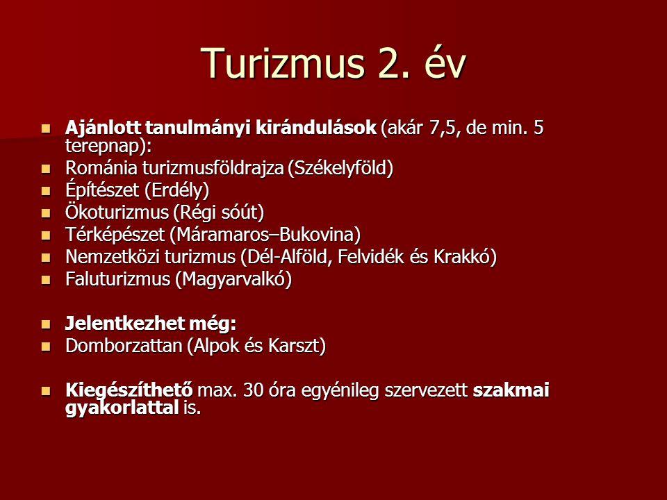 Turizmus 2. év Ajánlott tanulmányi kirándulások (akár 7,5, de min. 5 terepnap): Ajánlott tanulmányi kirándulások (akár 7,5, de min. 5 terepnap): Román