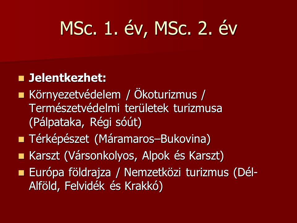 MSc. 1. év, MSc. 2. év Jelentkezhet: Jelentkezhet: Környezetvédelem / Ökoturizmus / Természetvédelmi területek turizmusa (Pálpataka, Régi sóút) Környe