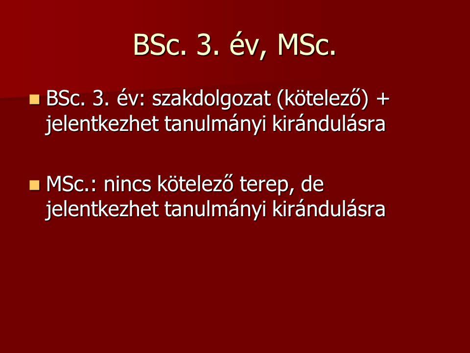 BSc. 3. év, MSc. BSc. 3. év: szakdolgozat (kötelező) + jelentkezhet tanulmányi kirándulásra BSc. 3. év: szakdolgozat (kötelező) + jelentkezhet tanulmá