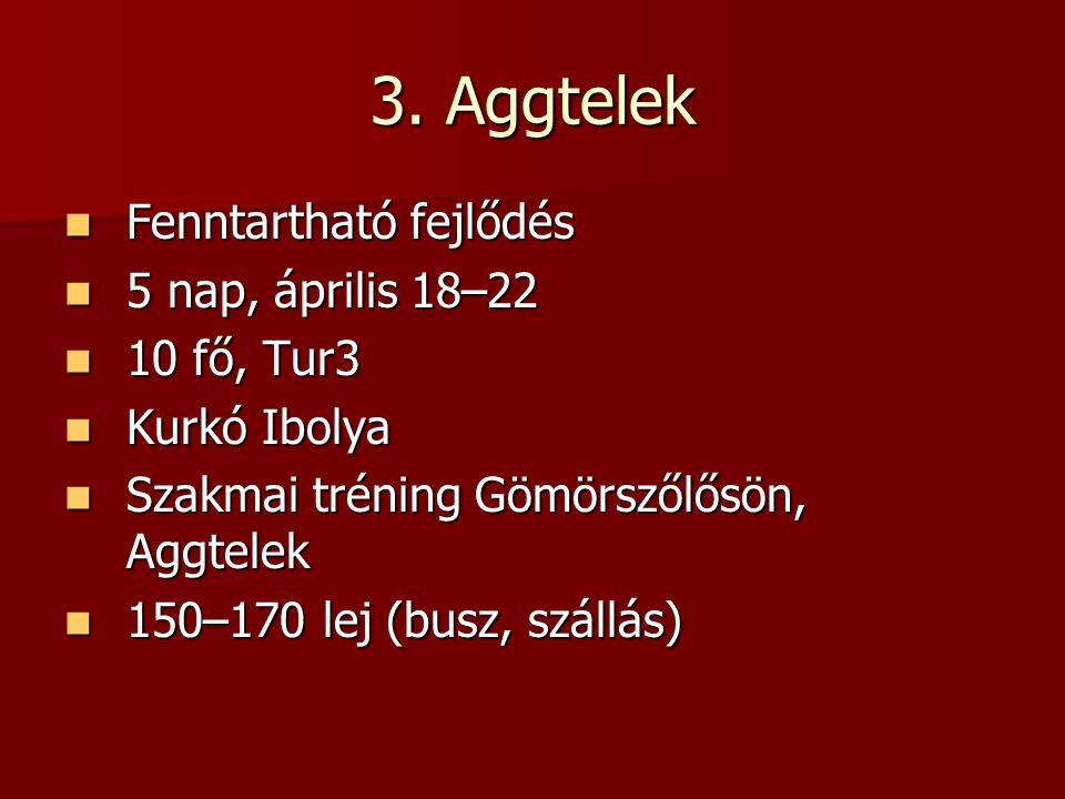 3. Aggtelek Fenntartható fejlődés Fenntartható fejlődés 5 nap, április 18–22 5 nap, április 18–22 10 fő, Tur3 10 fő, Tur3 Kurkó Ibolya Kurkó Ibolya Sz