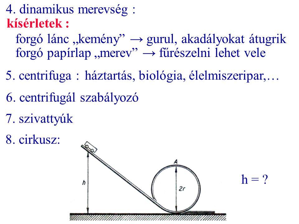 """4. dinamikus merevség : forgó lánc """"kemény"""" → gurul, akadályokat átugrik forgó papírlap """"merev"""" → fűrészelni lehet vele kísérletek : 5. centrifuga :há"""