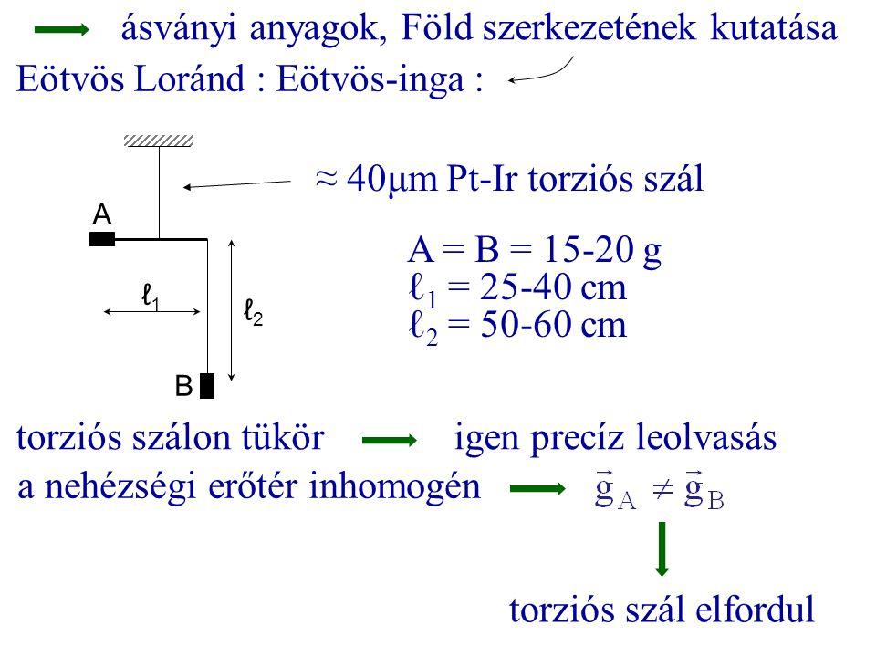 ásványi anyagok, Föld szerkezetének kutatása Eötvös Loránd : Eötvös-inga : A B A = B = 15-20 g ℓ 1 = 25-40 cm ℓ 2 = 50-60 cm ≈ 40μm Pt-Ir torziós szál