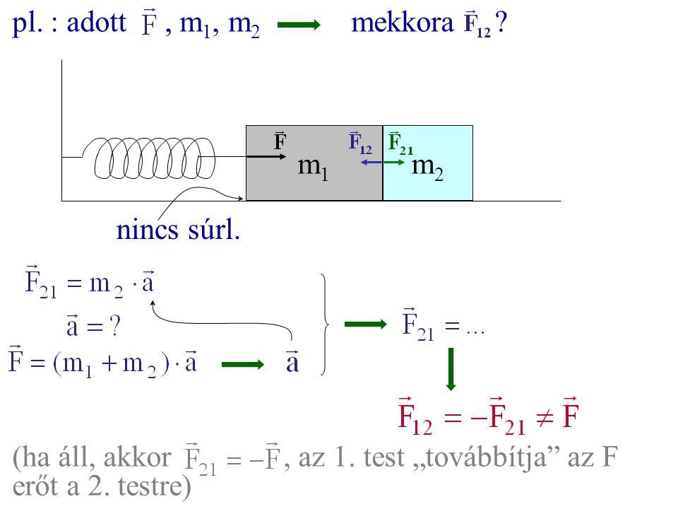"""m1m1 m2m2 pl. : adott, m 1, m 2 mekkora ? nincs súrl. (ha áll, akkor, az 1. test """"továbbítja"""" az F erőt a 2. testre)"""