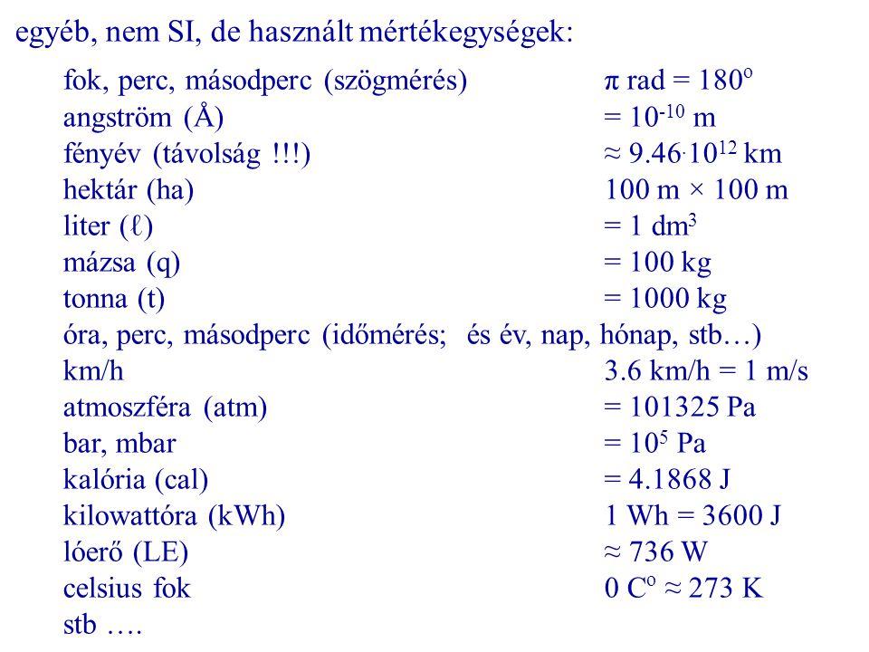 egyéb, nem SI, de használt mértékegységek: fok, perc, másodperc (szögmérés)π rad = 180 o angström (Å)= 10 -10 m fényév (távolság !!!)≈ 9.46. 10 12 km