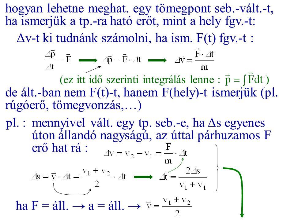 hogyan lehetne meghat. egy tömegpont seb.-vált.-t, ha ismerjük a tp.-ra ható erőt, mint a hely fgv.-t: Δv-t ki tudnánk számolni, ha ism. F(t) fgv.-t :