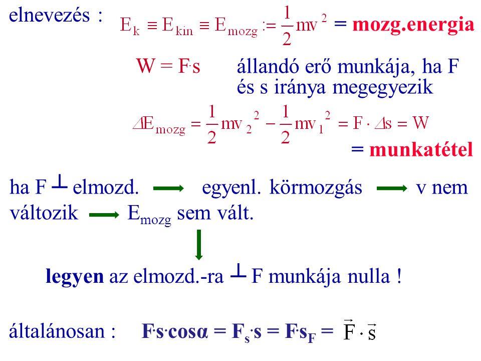 elnevezés : W = F. s = mozg.energia állandó erő munkája, ha F és s iránya megegyezik = munkatétel ha F ┴ elmozd.egyenl. körmozgás v nem változik E moz