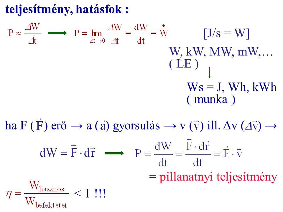 teljesítmény, hatásfok : [J/s = W] W, kW, MW, mW,… ( LE ) Ws = J, Wh, kWh ( munka ) ha F ( ) erő → a ( ) gyorsulás → v ( ) ill. Δv ( ) → = pillanatnyi