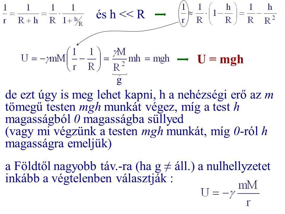és h << R g de ezt úgy is meg lehet kapni, h a nehézségi erő az m tömegű testen mgh munkát végez, míg a test h magasságból 0 magasságba süllyed (vagy