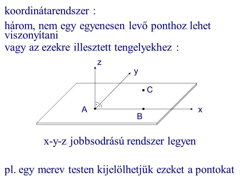 koordinátarendszer : három, nem egy egyenesen levő ponthoz lehet viszonyítani A B C z y x x-y-z jobbsodrású rendszer legyen pl. egy merev testen kijel