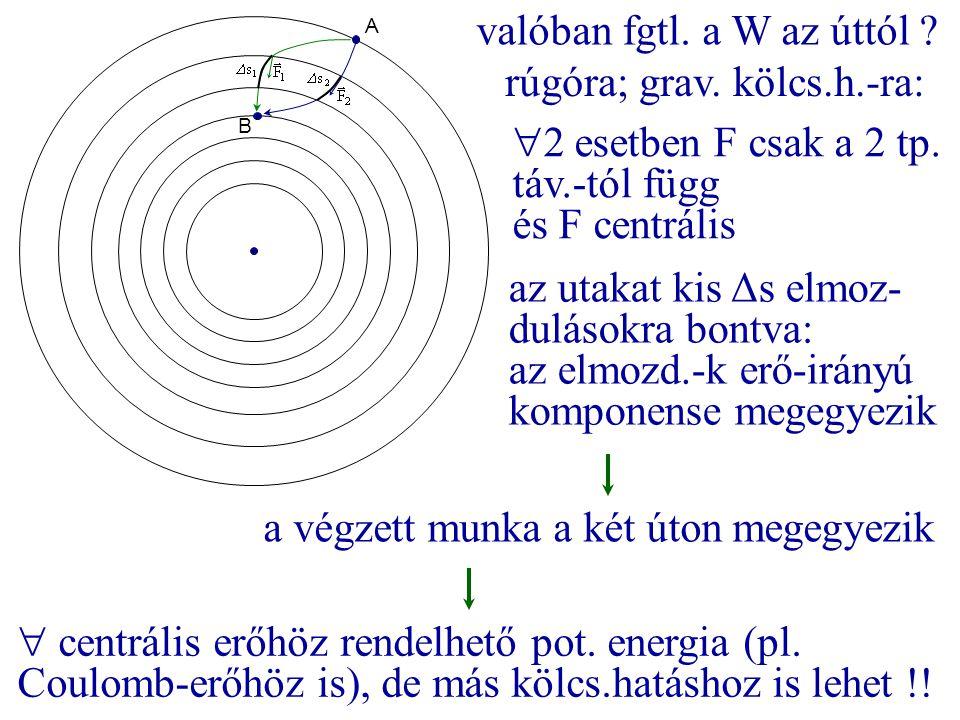 A B valóban fgtl. a W az úttól ? rúgóra; grav. kölcs.h.-ra:  2 esetben F csak a 2 tp. táv.-tól függ és F centrális az utakat kis Δs elmoz- dulásokra