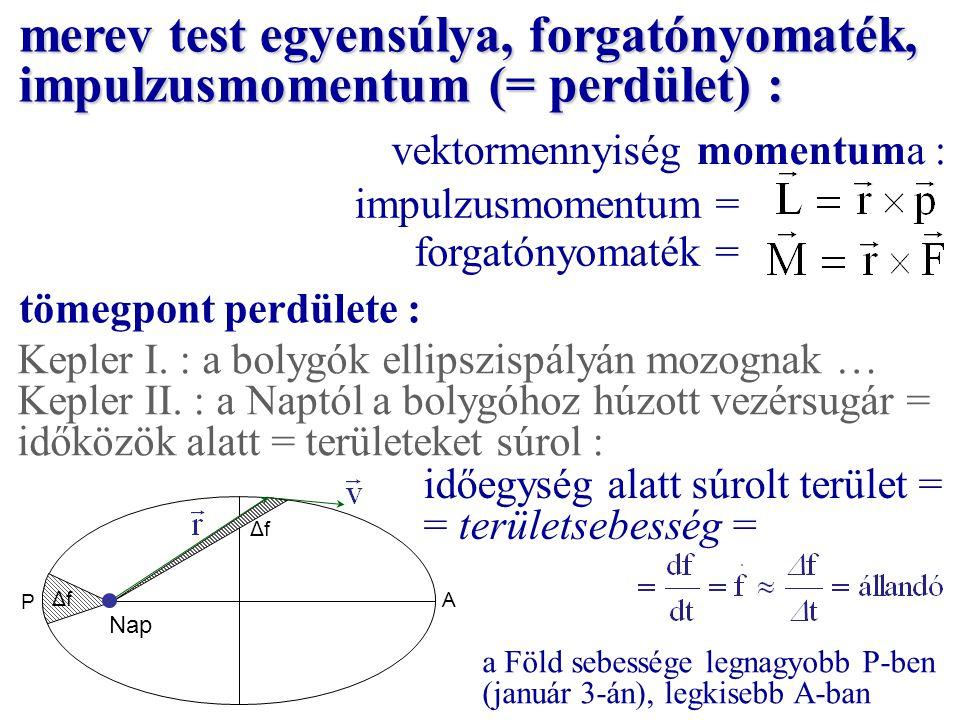 vektormennyiség momentuma : impulzusmomentum = forgatónyomaték = Kepler I. : a bolygók ellipszispályán mozognak … Kepler II. : a Naptól a bolygóhoz hú