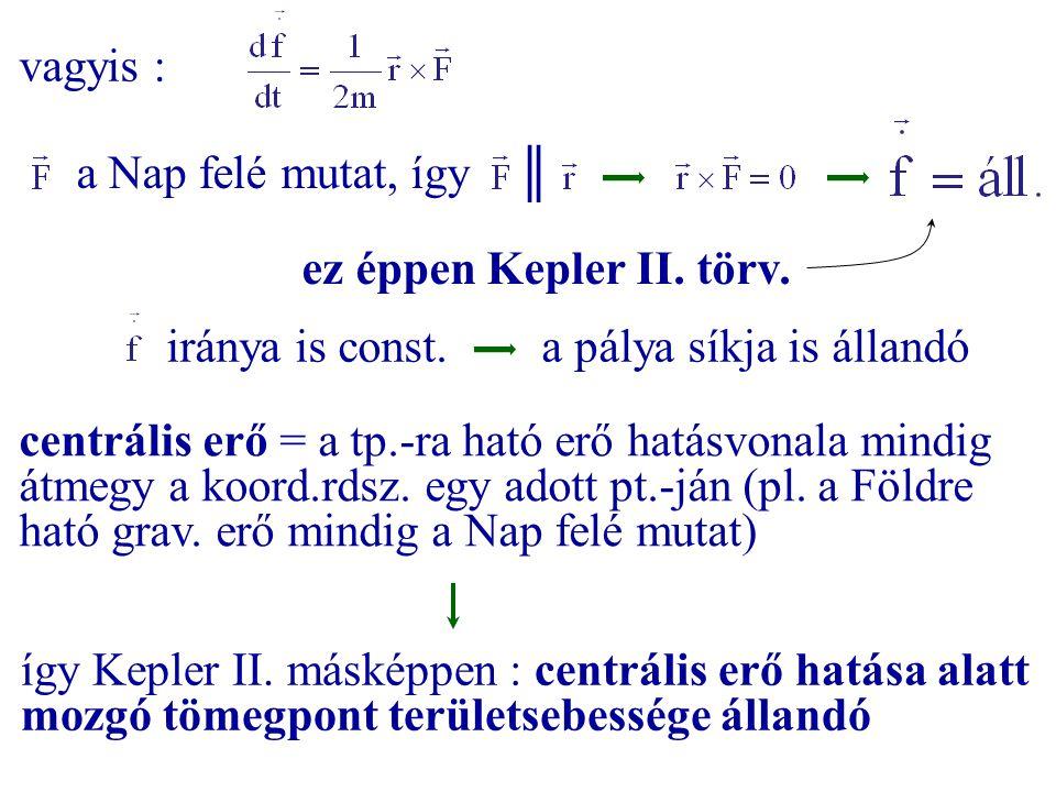 vagyis : a Nap felé mutat, így ║ ez éppen Kepler II. törv. iránya is const. a pálya síkja is állandó centrális erő = a tp.-ra ható erő hatásvonala min