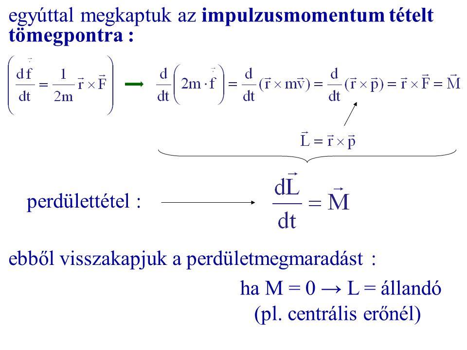 egyúttal megkaptuk az impulzusmomentum tételt tömegpontra : perdülettétel : ebből visszakapjuk a perdületmegmaradást : ha M = 0 → L = állandó (pl. cen