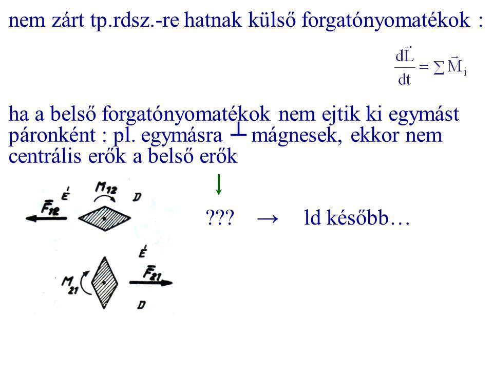 ha a belső forgatónyomatékok nem ejtik ki egymást páronként : pl. egymásra ┴ mágnesek, ekkor nem centrális erők a belső erők ??? →ld később… nem zárt
