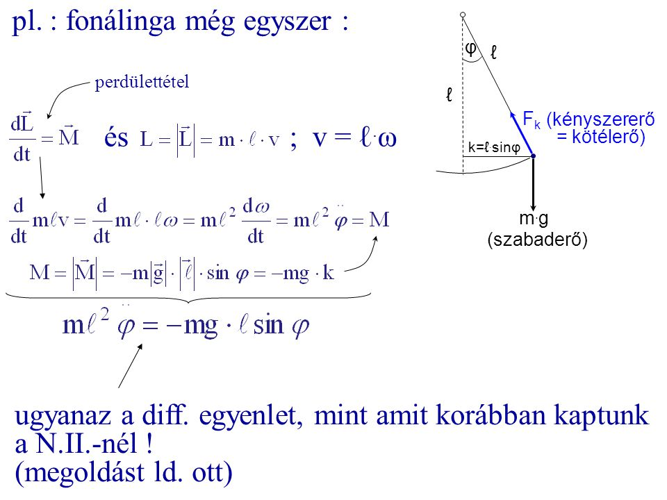 pl. : fonálinga még egyszer : φ ℓ m.gm.g FkFk (szabaderő) (kényszererő = kötélerő) k=ℓ. sinφ ℓ és ; v = ℓ. ω ugyanaz a diff. egyenlet, mint amit koráb