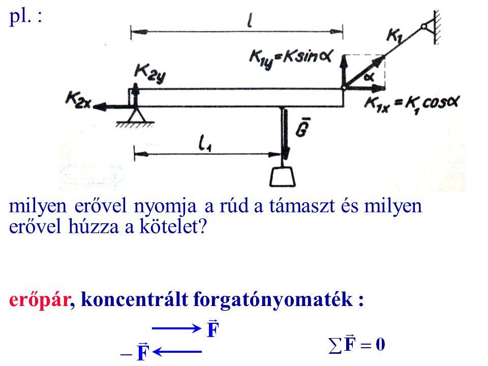 pl. : milyen erővel nyomja a rúd a támaszt és milyen erővel húzza a kötelet? erőpár, koncentrált forgatónyomaték :
