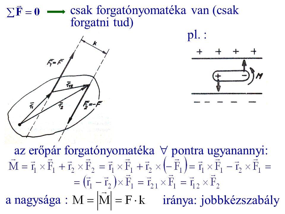 csak forgatónyomatéka van (csak forgatni tud) pl. : az erőpár forgatónyomatéka  pontra ugyanannyi: a nagysága : iránya: jobbkézszabály