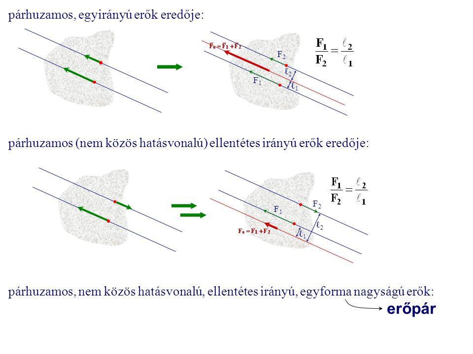 párhuzamos, egyirányú erők eredője: F1F1 F2F2 ℓ1ℓ1 ℓ2ℓ2 párhuzamos (nem közös hatásvonalú) ellentétes irányú erők eredője: F1F1 F2F2 ℓ1ℓ1 ℓ2ℓ2 párhuza