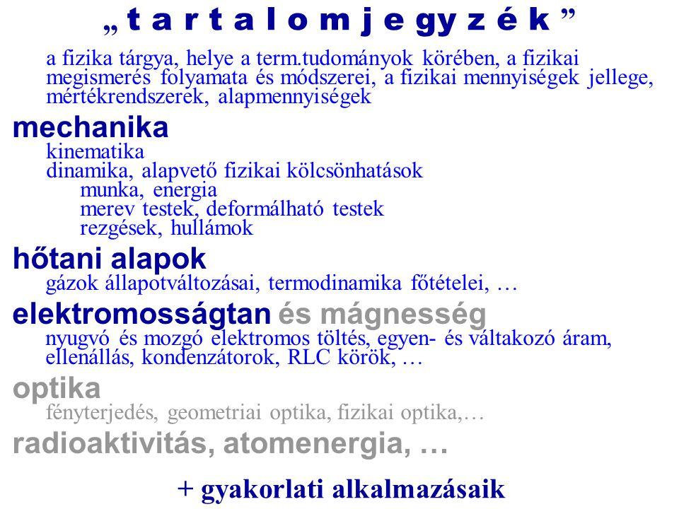 kötelező irodalom : 1.Dezső Gergely: Fizika (2003, főiskolai jegyzet) 2.Dezső Gergely: Fizika példatár és feladatgyűjtemény (2007, főiskolai jegyzet) 1.Holics L.: Fizika I-II.