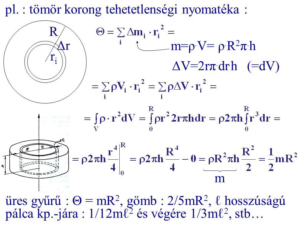 pl. : tömör korong tehetetlenségi nyomatéka : R ΔrΔr riri m=ρ. V= ρ. R 2 π. h ΔV=2rπ. dr. h (=dV) m üres gyűrű : Θ = mR 2, gömb : 2/5mR 2, ℓ hosszúság