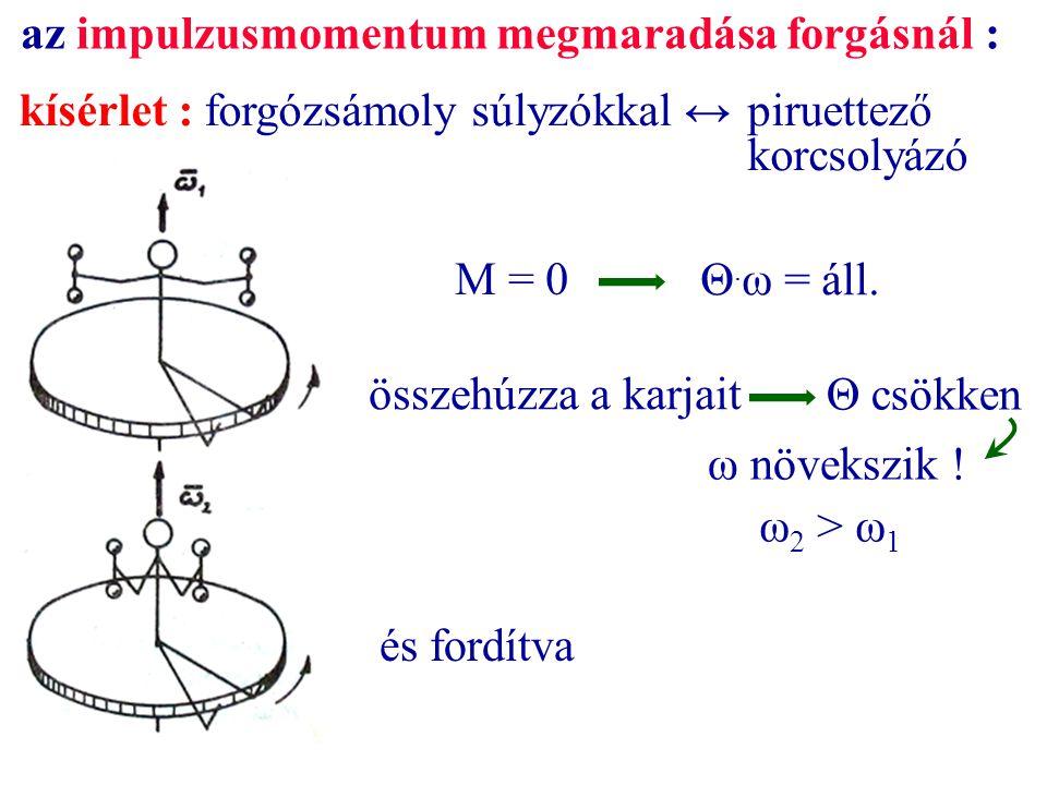 kísérlet :forgózsámoly súlyzókkal ↔piruettező korcsolyázó az impulzusmomentum megmaradása forgásnál : M = 0 Θ. ω = áll. összehúzza a karjait ω növeksz