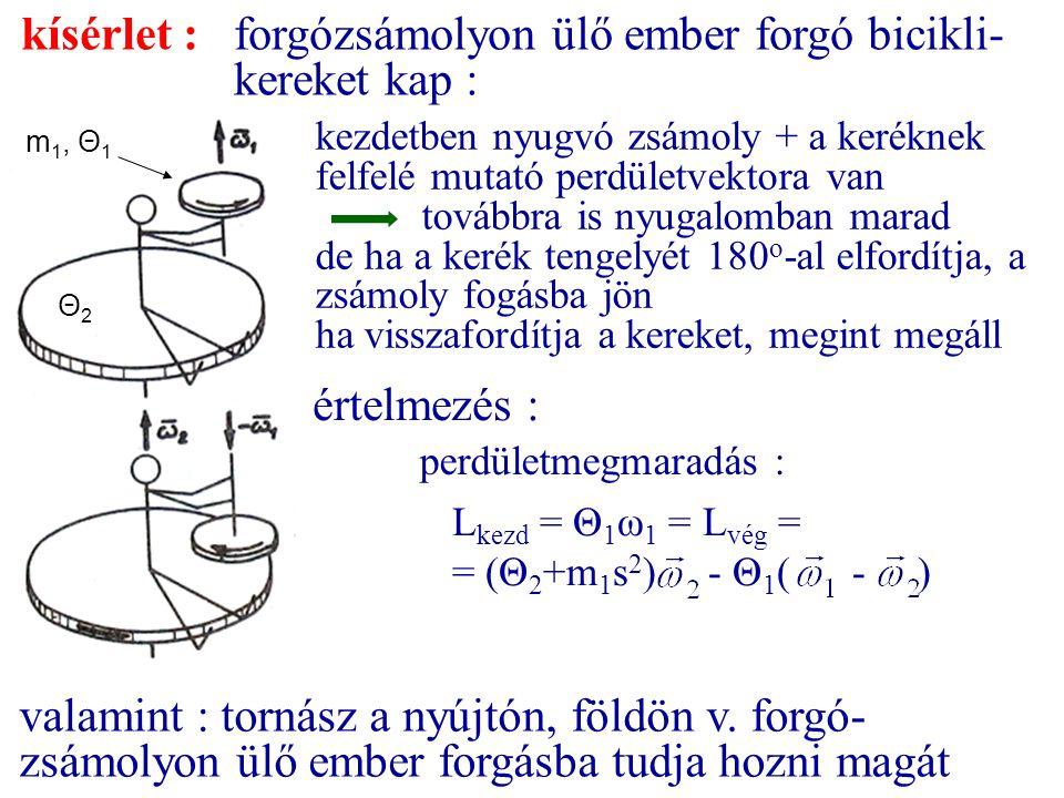 kísérlet :forgózsámolyon ülő ember forgó bicikli- kereket kap : értelmezés : valamint : tornász a nyújtón, földön v. forgó- zsámolyon ülő ember forgás