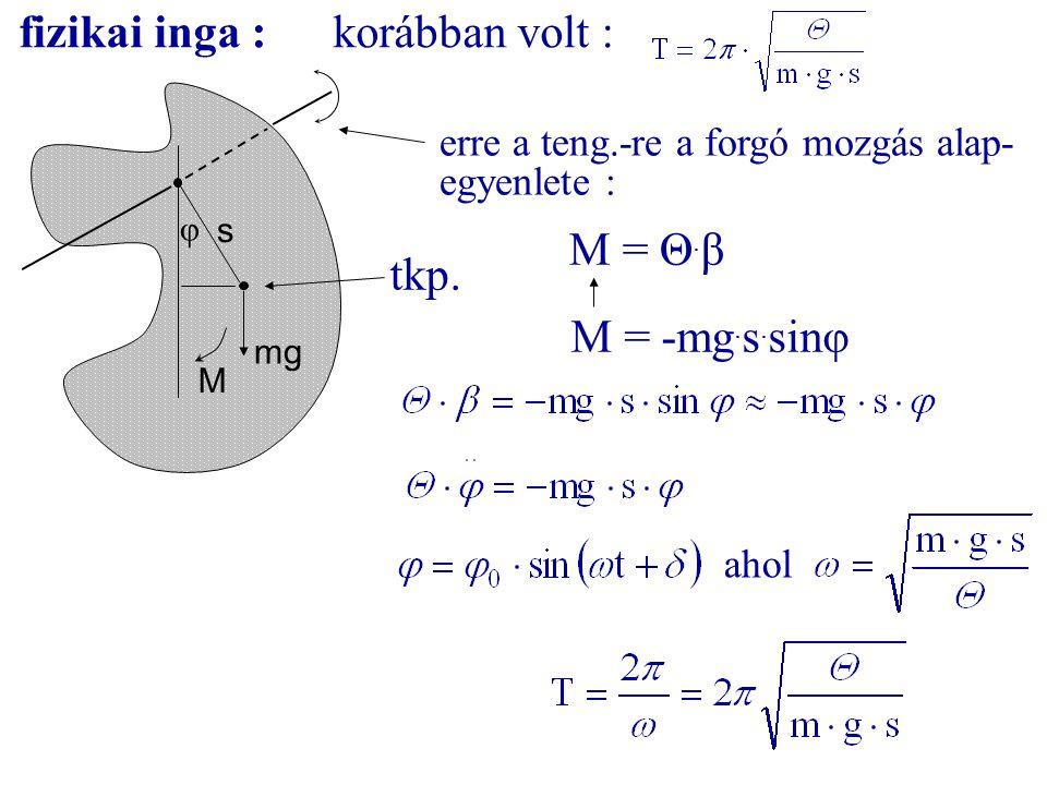 fizikai inga :korábban volt : mg tkp. φ s M erre a teng.-re a forgó mozgás alap- egyenlete : M = -mg. s. sinφ M = Θ. β ahol