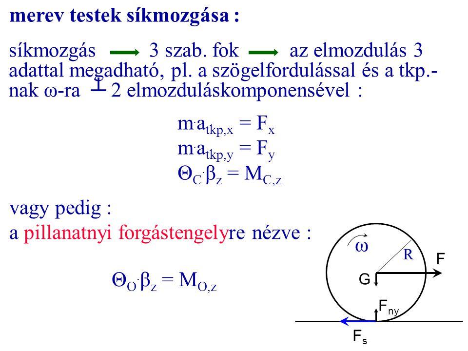 merev testek síkmozgása : síkmozgás3 szab. fokaz elmozdulás 3 adattal megadható, pl. a szögelfordulással és a tkp.- nak ω-ra ┴ 2 elmozduláskomponensév