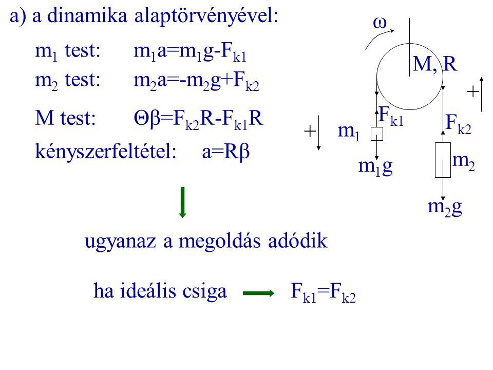 a) a dinamika alaptörvényével: m 1 test:m 1 a=m 1 g-F k1 m 2 test:m 2 a=-m 2 g+F k2 m1m1 m2m2 M, R ω m1gm1g m2gm2g F k1 F k2 M test:Θβ=F k2 R-F k1 R +