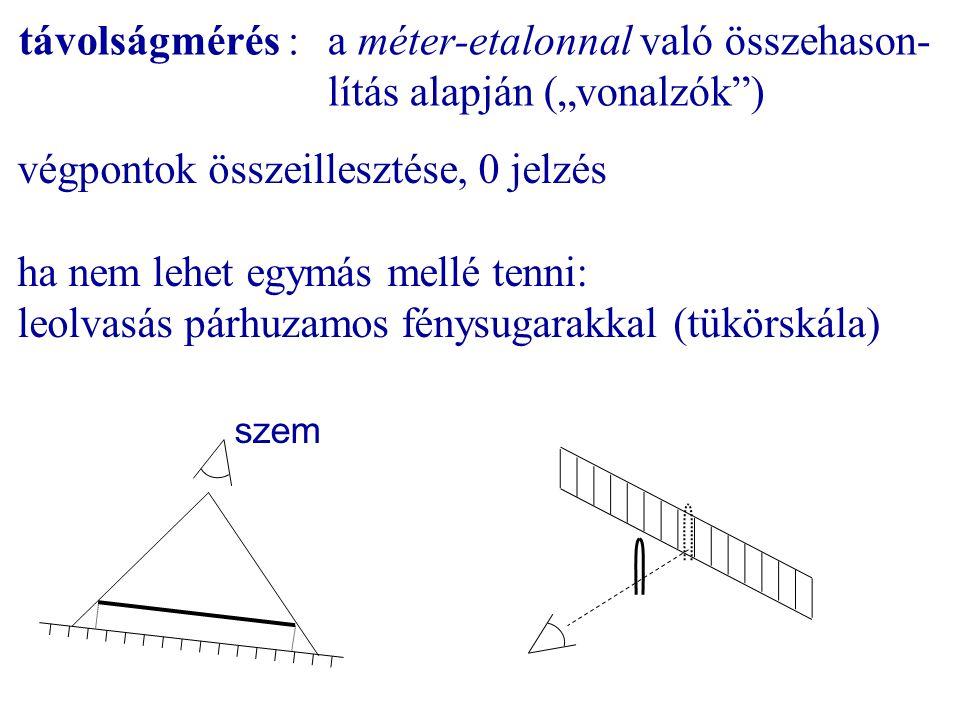 """távolságmérés : a méter-etalonnal való összehason- lítás alapján (""""vonalzók"""") végpontok összeillesztése, 0 jelzés ha nem lehet egymás mellé tenni: leo"""
