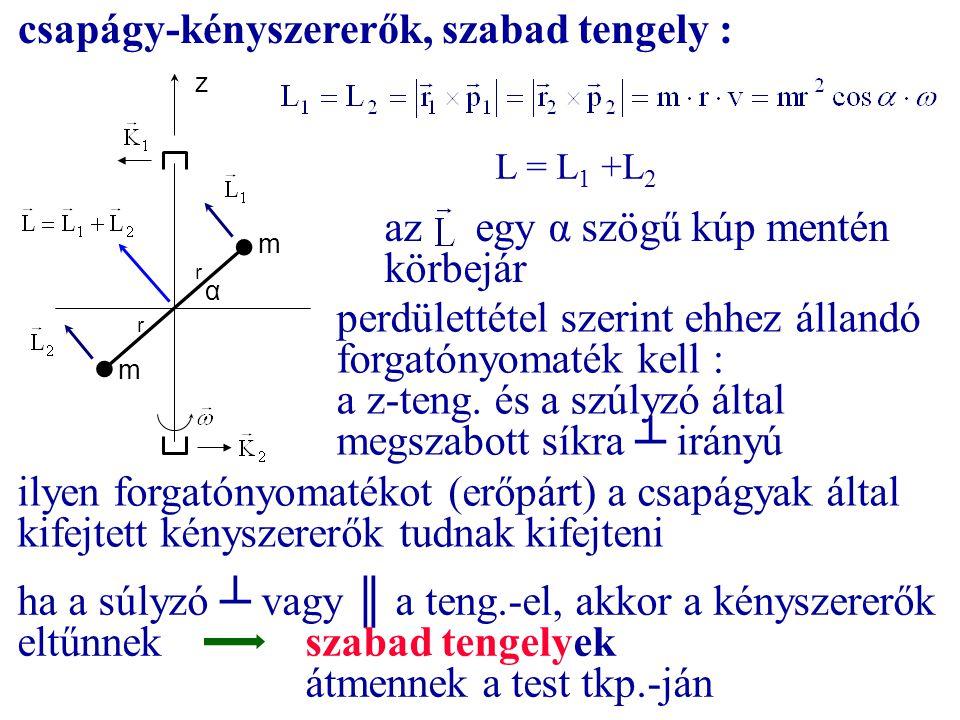 csapágy-kényszererők, szabad tengely : m m z α r r L = L 1 +L 2 az egy α szögű kúp mentén körbejár perdülettétel szerint ehhez állandó forgatónyomaték