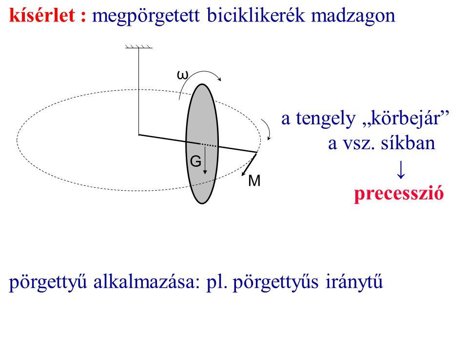 """kísérlet : megpörgetett biciklikerék madzagon ω a tengely """"körbejár"""" a vsz. síkban ↓ precesszió G M pörgettyű alkalmazása: pl. pörgettyűs iránytű"""