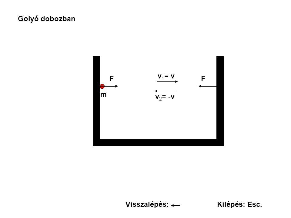 Golyó dobozban FF v 1 = v v 2 = -v m Visszalépés:Kilépés: Esc.