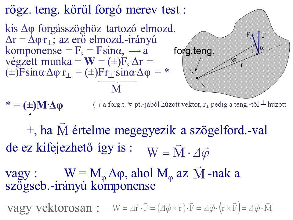 rögz. teng. körül forgó merev test : α forg.teng. Δφ kis Δφ forgásszöghöz tartozó elmozd. Δr = Δφ. r ┴ ; az erő elmozd.-irányú komponense = F s = F. s
