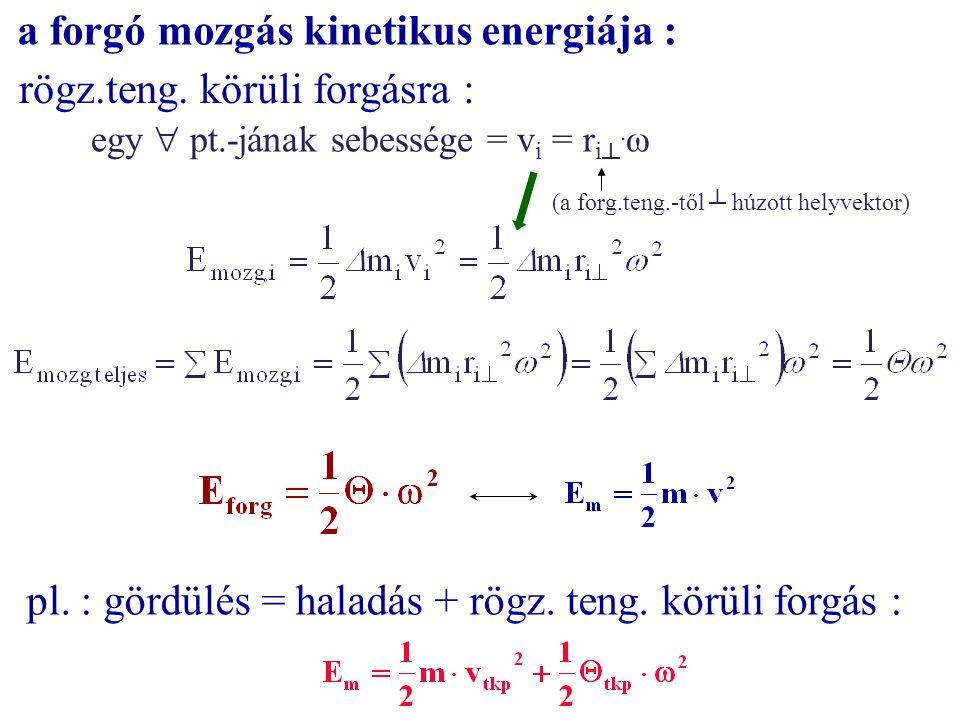 a forgó mozgás kinetikus energiája : rögz.teng. körüli forgásra : egy  pt.-jának sebessége = v i = r i ┴. ω (a forg.teng.-től ┴ húzott helyvektor) pl
