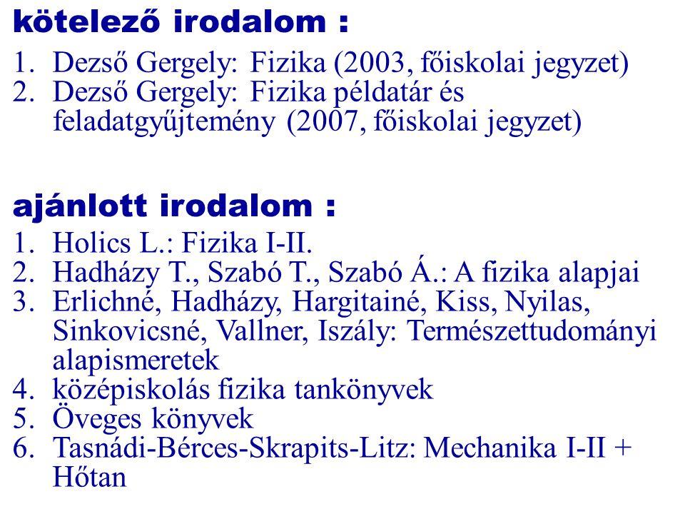 kötelező irodalom : 1.Dezső Gergely: Fizika (2003, főiskolai jegyzet) 2.Dezső Gergely: Fizika példatár és feladatgyűjtemény (2007, főiskolai jegyzet)