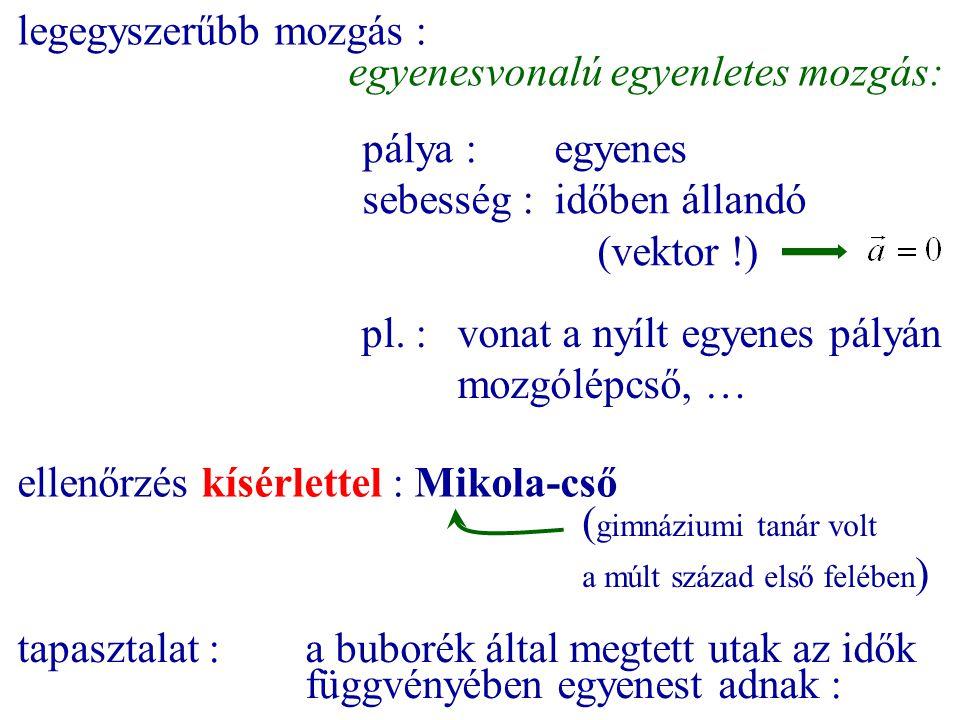 legegyszerűbb mozgás : egyenesvonalú egyenletes mozgás: pálya :egyenes sebesség :időben állandó (vektor !) pl. :vonat a nyílt egyenes pályán mozgólépc