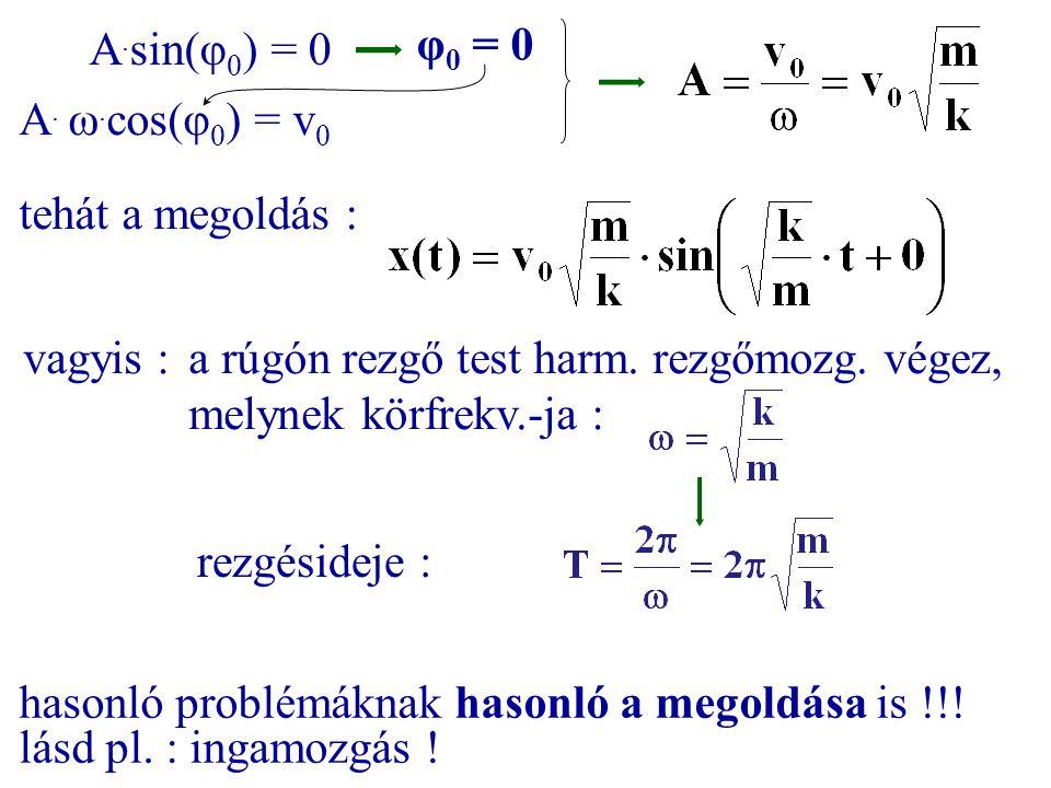 A. sin(φ 0 ) = 0 A. ω. cos(φ 0 ) = v 0 φ 0 = 0 tehát a megoldás : vagyis :a rúgón rezgő test harm. rezgőmozg. végez, melynek körfrekv.-ja : rezgésidej