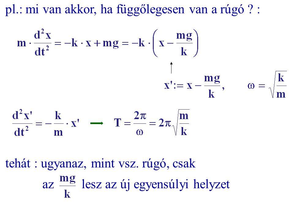 pl.: mi van akkor, ha függőlegesen van a rúgó ? : az lesz az új egyensúlyi helyzet tehát : ugyanaz, mint vsz. rúgó, csak