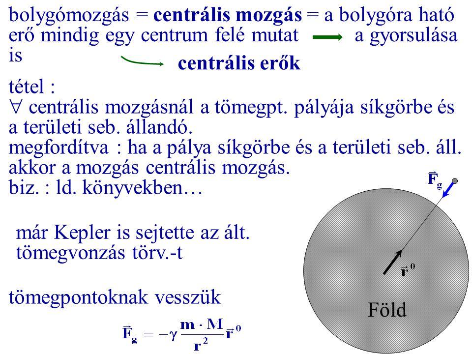 tömegpontoknak vesszük Föld bolygómozgás = centrális mozgás = a bolygóra ható erő mindig egy centrum felé mutat a gyorsulása is centrális erők tétel :
