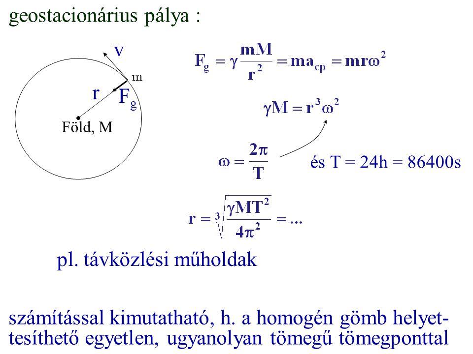 geostacionárius pálya : r Föld, M v FgFg m és T = 24h = 86400s számítással kimutatható, h. a homogén gömb helyet- tesíthető egyetlen, ugyanolyan tömeg