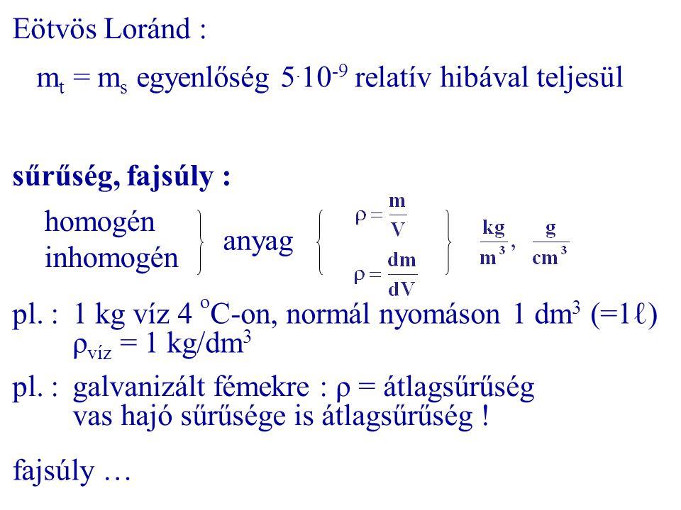 Eötvös Loránd : m t = m s egyenlőség 5. 10 -9 relatív hibával teljesül sűrűség, fajsúly : homogén inhomogén anyag pl. :1 kg víz 4 o C-on, normál nyomá