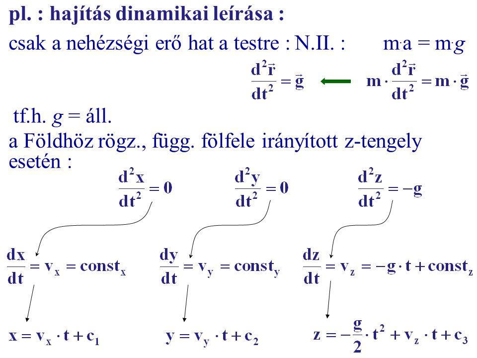 pl. : hajítás dinamikai leírása : csak a nehézségi erő hat a testre :N.II. : m. a = m. g tf.h. g = áll. a Földhöz rögz., függ. fölfele irányított z-te