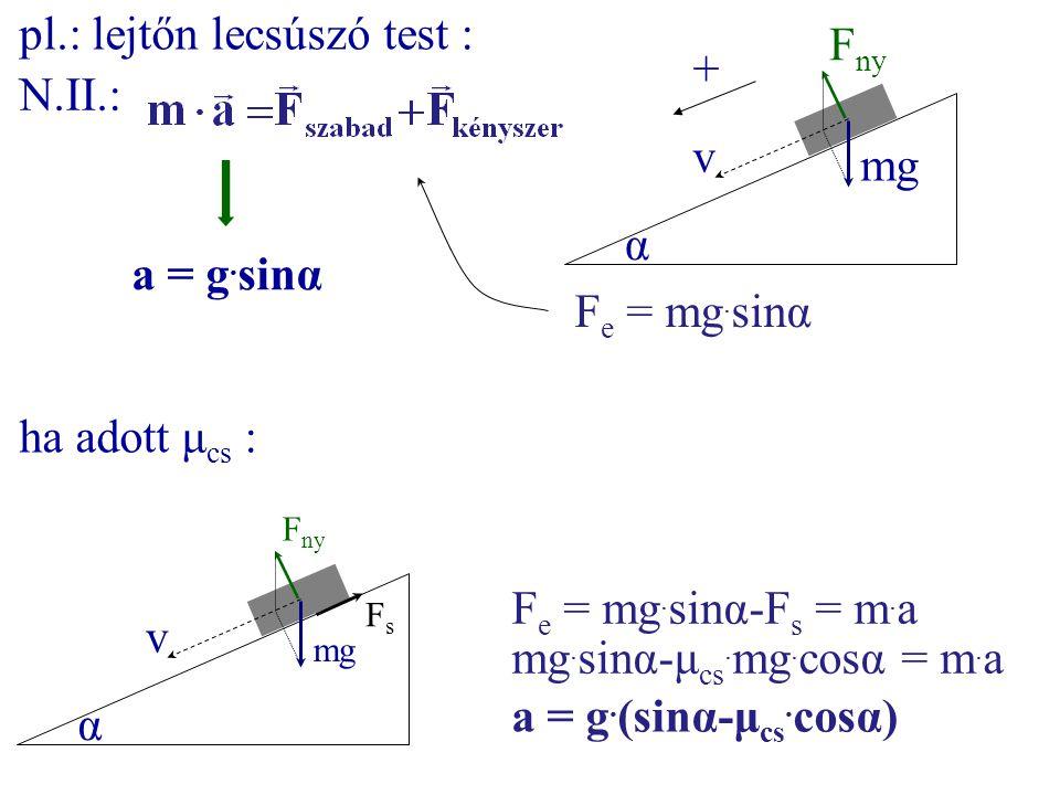 mg F ny α v F e = mg. sinα pl.: lejtőn lecsúszó test : N.II.: a = g. sinα mg F ny α v FsFs + F e = mg. sinα-F s = m. a mg. sinα-μ cs. mg. cosα = m. a